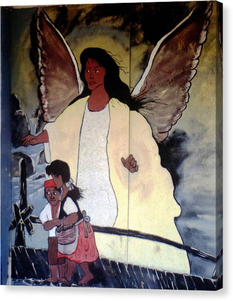 Black Guardian Angel Mural Canvas Print