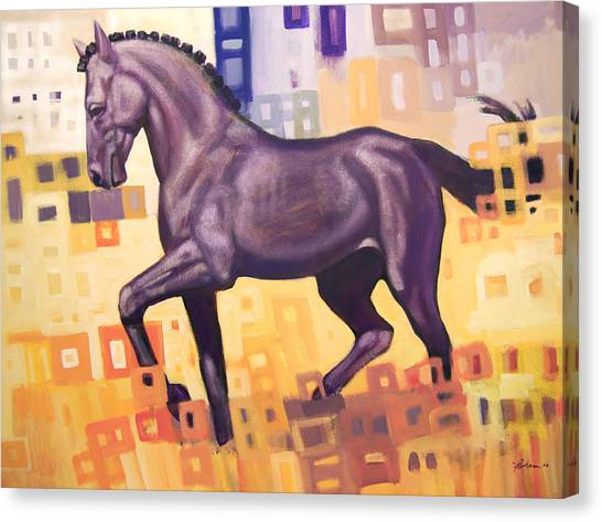 Horses Canvas Print - Black Horse by Farhan Abouassali