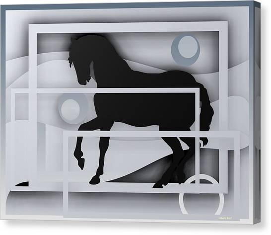 Black Horse White. Canvas Print