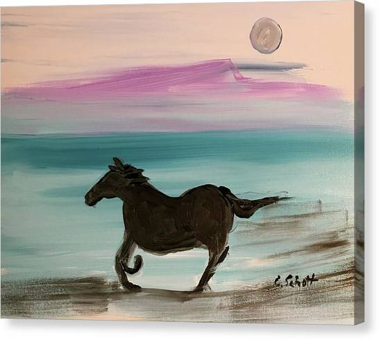 Black Horse With Moon Canvas Print
