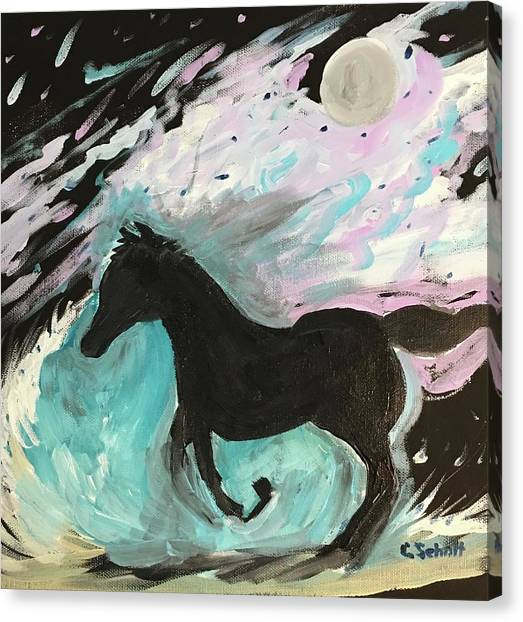 Black Horse With Wave Canvas Print