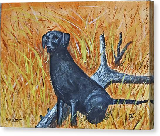 Canvas Print featuring the painting Black Lab-2 by Donald Paczynski