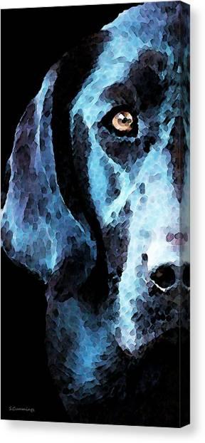 Labrador Retrievers Canvas Print - Black Labrador Retriever Dog Art - Hunter by Sharon Cummings
