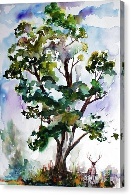 Black Locust Tree And Deer Landscape Portrait Canvas Print