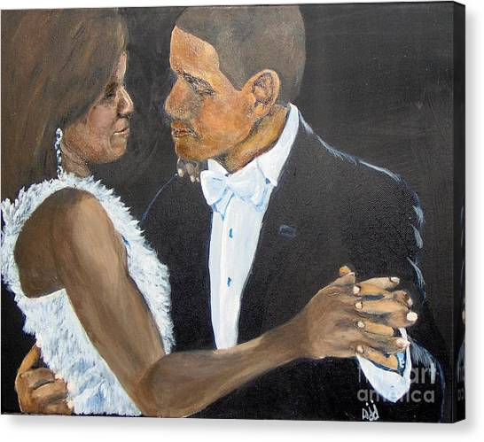 Canvas Print featuring the painting Black Love Is Black Power by Saundra Johnson