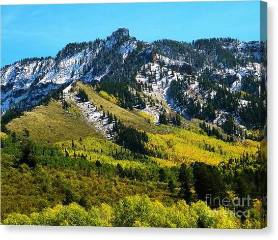 Black Mesa Rocky Peak In Autumn Canvas Print