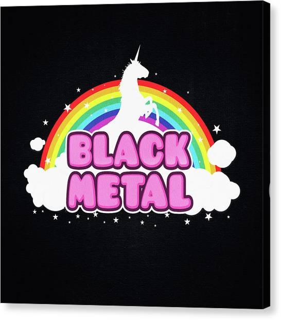 Unicorns Canvas Print - Black Metal Funny Unicorn / Rainbow Mosh Parody Design by Philipp Rietz