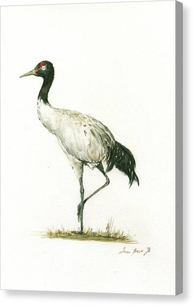 Cranes Canvas Print - Black Necked Crane by Juan Bosco