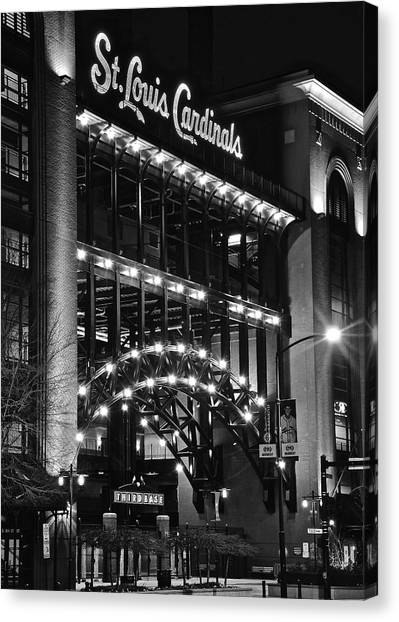 St. Louis Cardinals Canvas Print - Black Night Lights by Frozen in Time Fine Art Photography