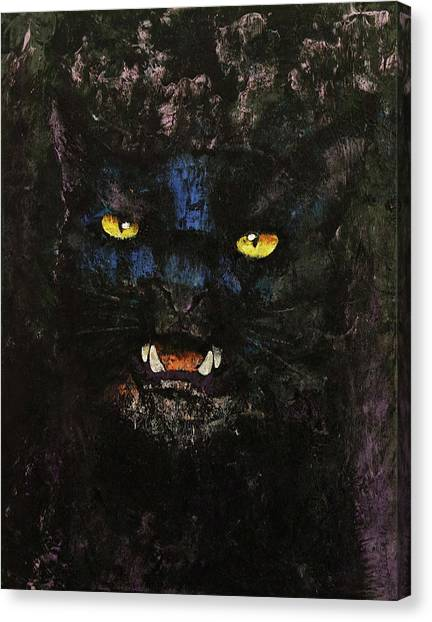 Panthers Canvas Print - Black On Black Cat by Michael Creese
