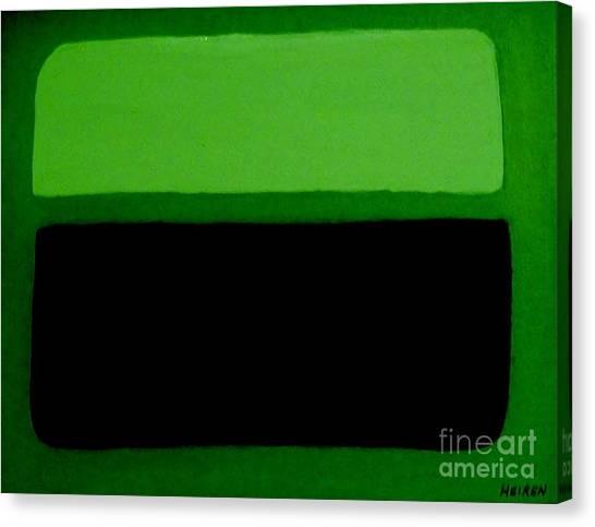 Black On Dark Green And Medium Green Canvas Print by Marsha Heiken