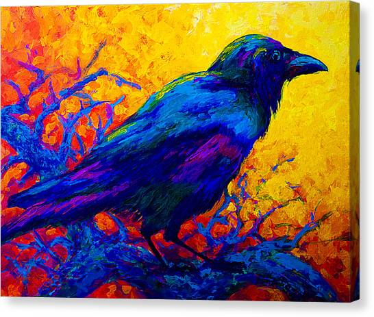 Ravens Canvas Print - Black Onyx - Raven by Marion Rose