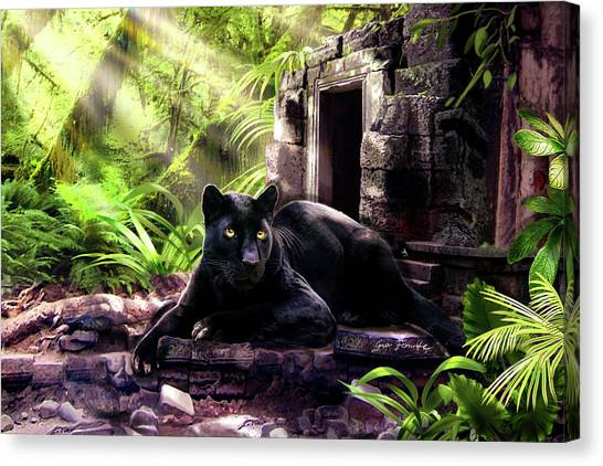 Temple Canvas Print - Black Panther Custodian Of Ancient Temple Ruins  by Regina Femrite