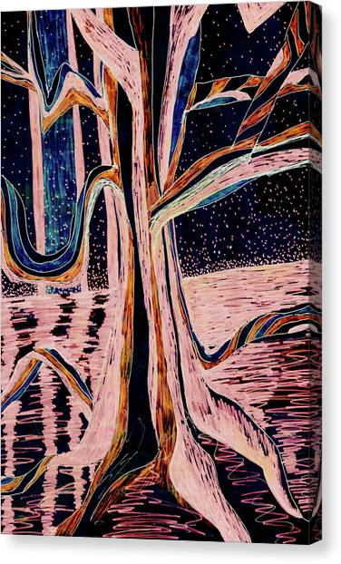 Black-peach Moonlight River Tree Canvas Print