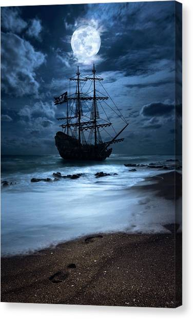 Black Pearl Pirate Ship Landing Under Full Moon Canvas Print