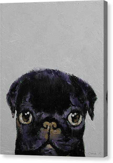 Pugs Canvas Print - Black Pug by Michael Creese
