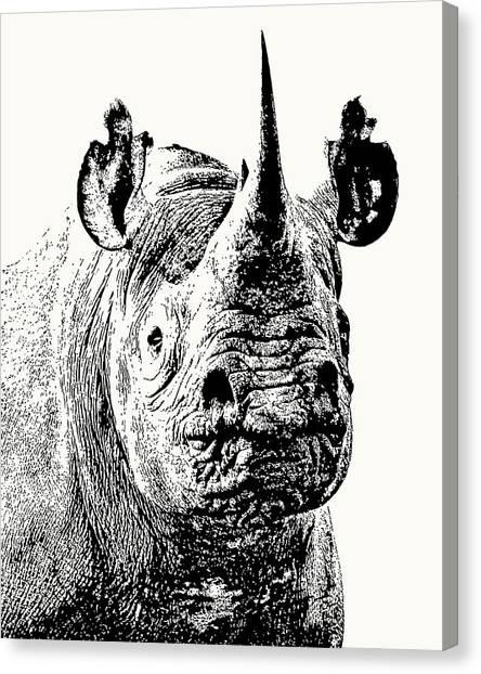 Black Rhino Portrait Canvas Print