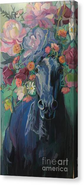 Draft Horses Canvas Print - Black Rose by Kimberly Santini