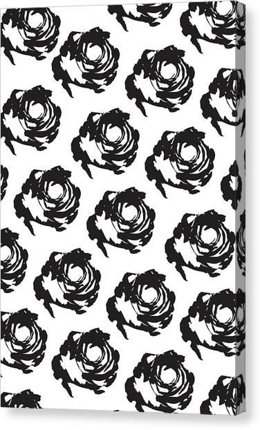 Black Rose Pattern Canvas Print