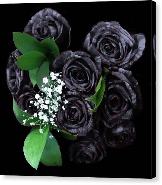Black Roses Bouquet Canvas Print