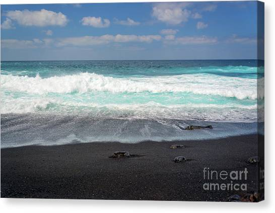 Lanzarote Canvas Print - Black Sand Beach by Delphimages Photo Creations