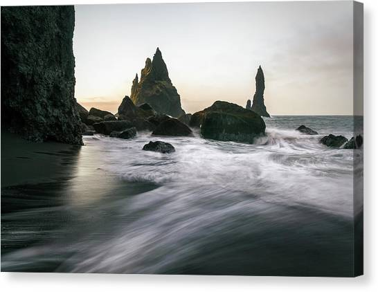 Black Sand Beach In Iceland Canvas Print