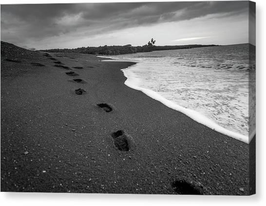 Black Sand Canvas Print - Black Sand Footprints by Sean Davey