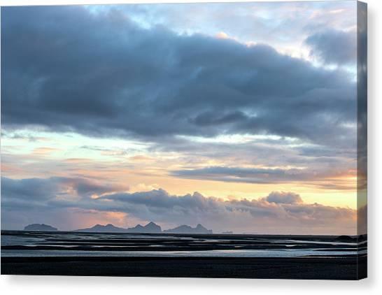 Black Sand Canvas Print - Black Sand Sunset Iceland by Brad Scott