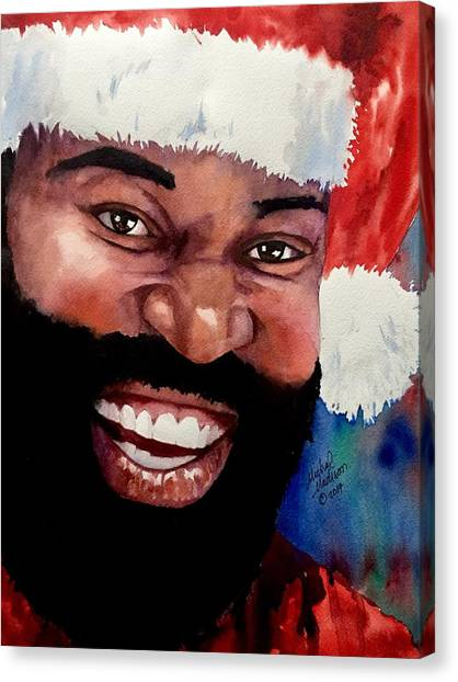 Canvas Print featuring the painting Black Santa by Michal Madison