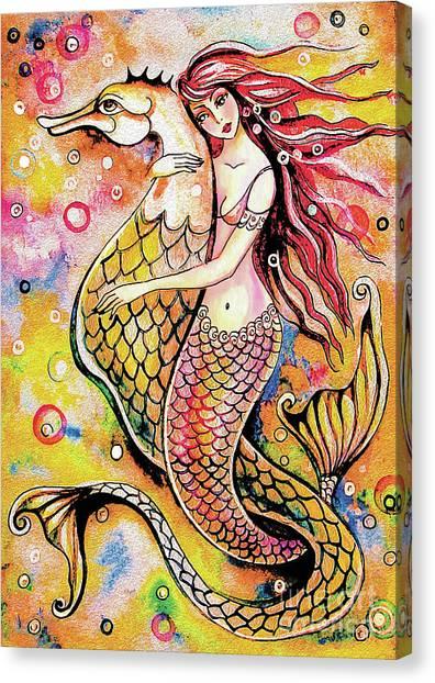 Black Sea Mermaid Canvas Print