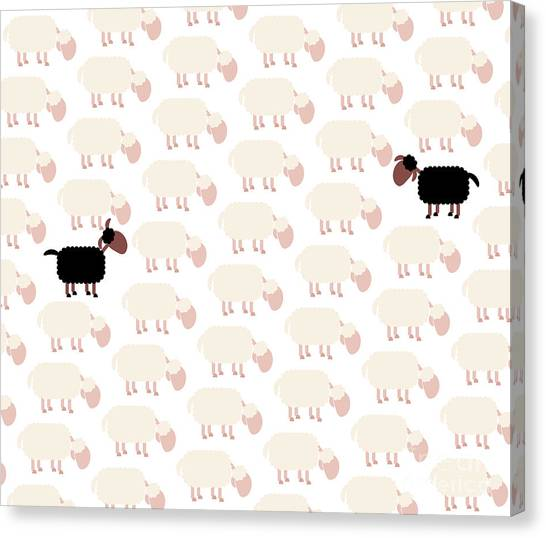 Different Opinions Canvas Print - Black Sheep Fellow Sufferer by Peter Hermes Furian