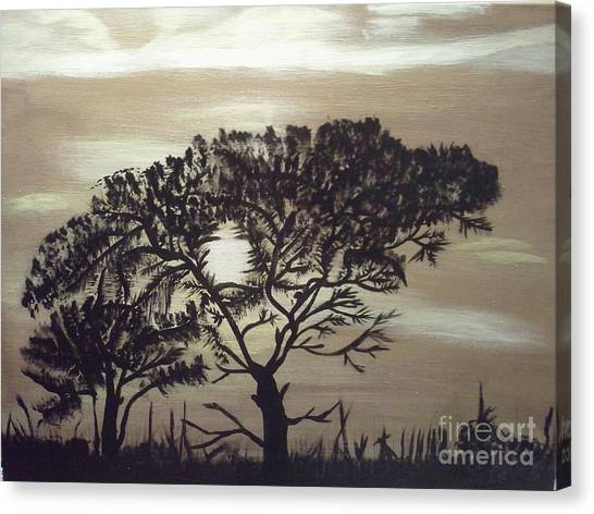 Black Silhouette Tree Canvas Print