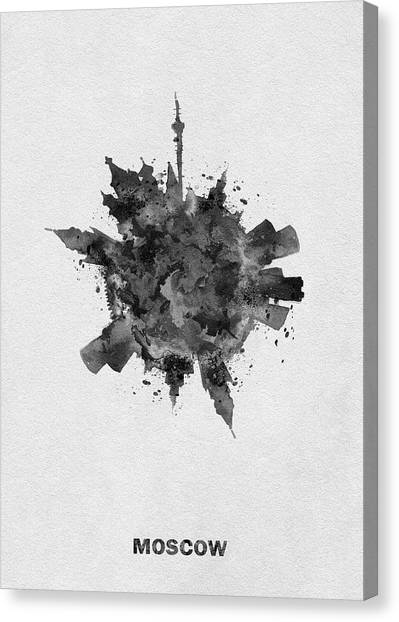 Moscow Skyline Canvas Print - Black Skyround Art Of Moscow, Russia by Inspirowl Design