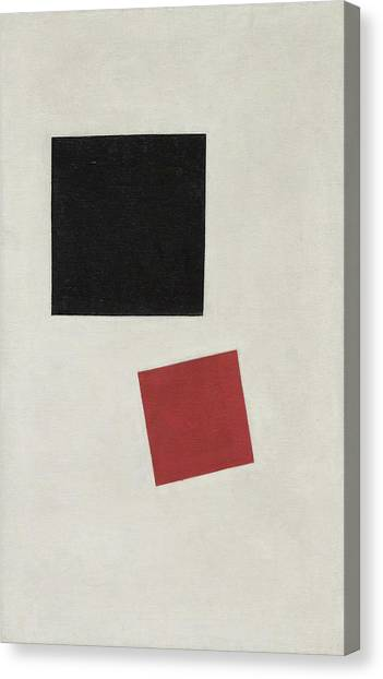 Suprematism Canvas Print - Black Square And Red Square, Color Masses In The Fourth Dimension by Kazimir Malevich