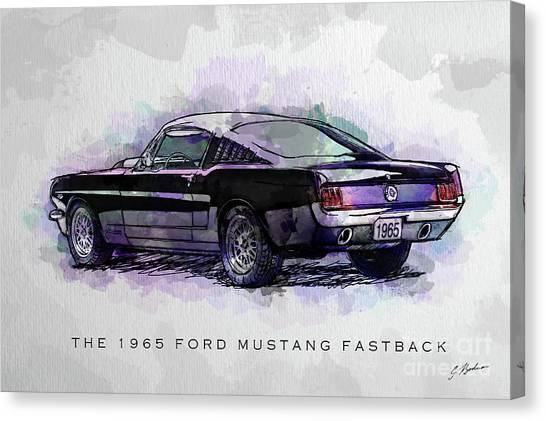 Black Stallion 1965 Ford Mustang Fastback Canvas Print