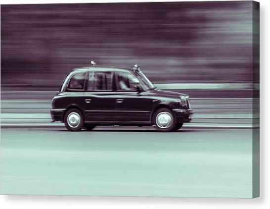 Black Taxi Bw Blur Canvas Print