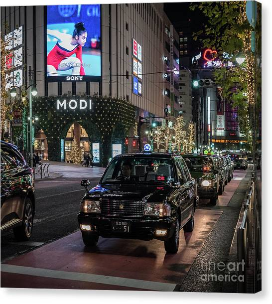 Black Taxi In Tokyo, Japan Canvas Print
