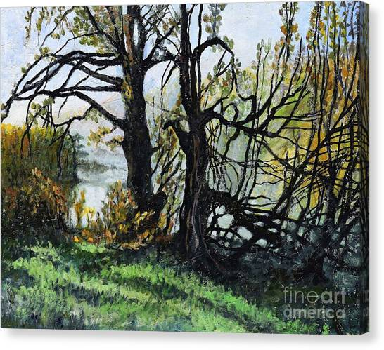 Countryside Canvas Print - Black Trees Entanglement by Suzann's Art