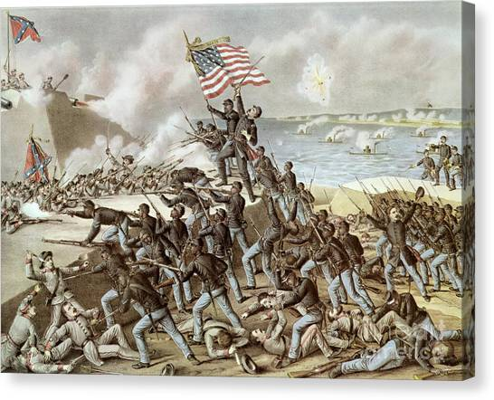 Confederate Army Canvas Print - Black Troops Of The Fifty Fourth Massachusetts Regiment During The Assault Of Fort Wagner by American School