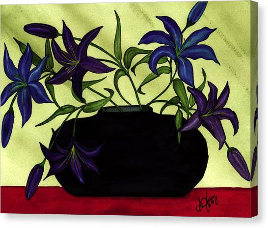 Black Vase With Lilies Canvas Print by Stephanie  Jolley
