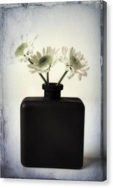 Pom-pom Canvas Print - Black Vase With Poms by Garry Gay
