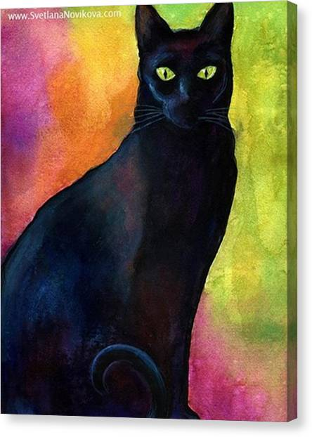 Watercolor Canvas Print - Black Watercolor Cat Painting By by Svetlana Novikova