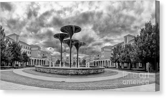 Texas Christian University Canvas Print - Black White Panorama Of Texas Christian University Campus Commons And Frog Fountain - Fort Worth  by Silvio Ligutti