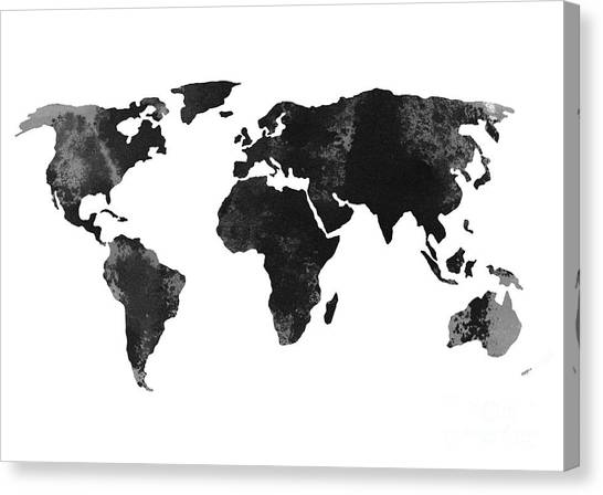 Map Canvas Print - Black World Map Silhouette by Joanna Szmerdt