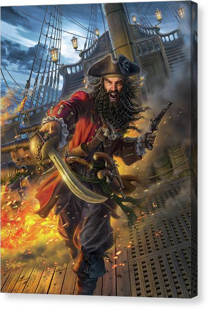 Pistols Canvas Print - Blackbeard by Mark Fredrickson