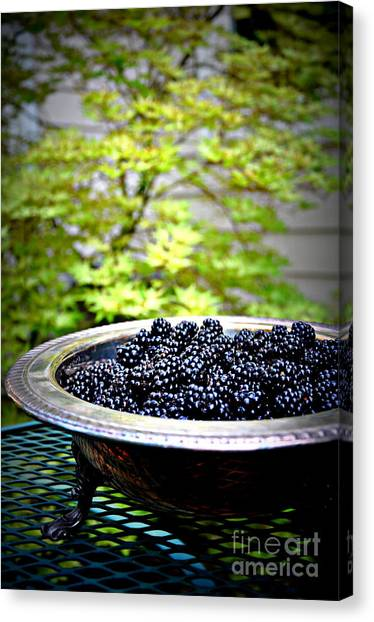 Wild Berries Canvas Print - Blackberries In Silver Dish by Tanya  Searcy