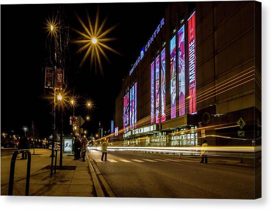 Carolina Hurricanes Canvas Print - Blackhawk Fans Filing Into The United Center by Sven Brogren