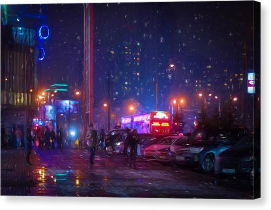 Bladerunner Canvas Print - Bladerunner Style Neon Urban City Oil by John Williams