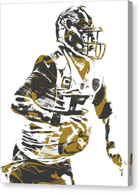 Jacksonville Jaguars Canvas Print - Blake Bortles Jacksonville Jaguars Pixel Art 10 by Joe Hamilton