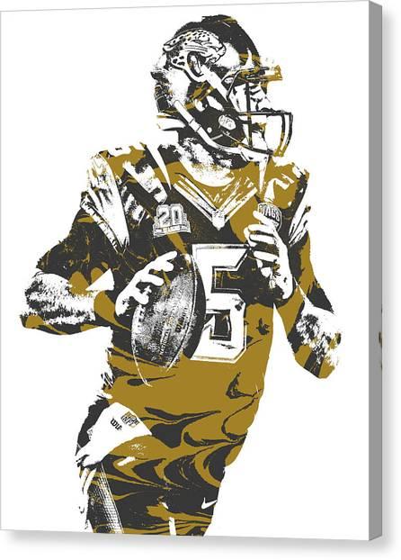 Jacksonville Jaguars Canvas Print - Blake Bortles Jacksonville Jaguars Pixel Art 11 by Joe Hamilton